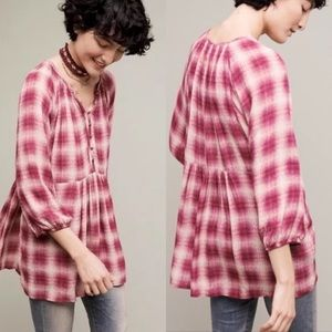 Maeve Pink calavan plaid tunic top size L